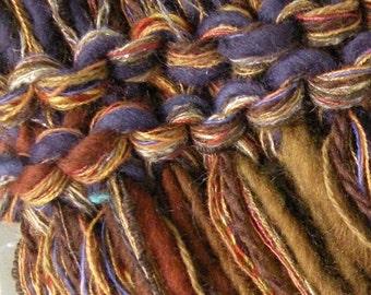 Men's cowl scarf, neckwarmer, hand knit SOFT merino wool winter women stretch, brown blue violet crochet hood, wide headband dread wrap i910
