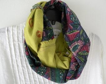 Women's scarf, woven crochet Indian rustic, hipster Bohemian long fashion purple green teal cotton indie fiber art vintage Lhasa i918