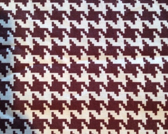 "Vintage cotton large Vintage brown & cream houndstooth cotton stretch fabric 42"" wide x 1 3/4yards"