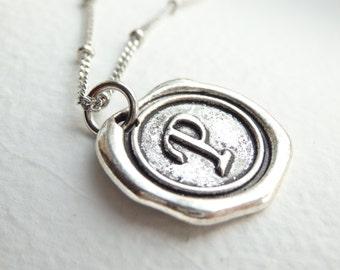 Antique Silver Wax Seal - P - Monogram Necklace