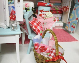 1:12 Scale Dollhouse Cottage style Sewing Basket