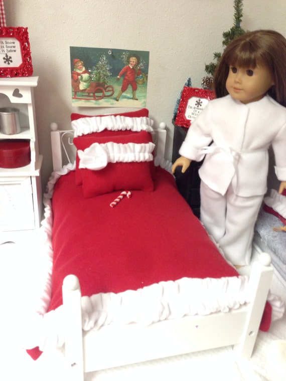 Red and White Doll Bedding-18 inch sized Doll