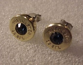 Bullet Earrings 38 Special Brass Shell Swarovski Crystal - Free Shipping to USA