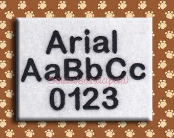 Arial Embroidery Font Includes 5 Sizes