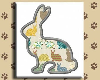 Applique Silhouette Rabbit Embroidery Design Includes Multiple Sizes