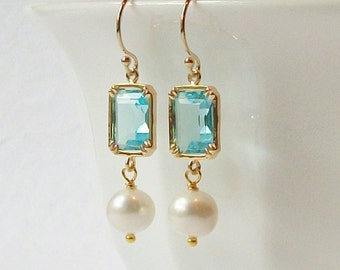 Aquamarine Crystal Pearl Dangle Earrings Something Blue Wedding