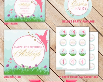 Garden Fairy Printable Party Decorations : Deluxe Printable Party Collection - Invite - Banners - Cupcake Toppers - Sign - Party Favor # 119