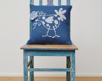 Needlepoint pattern FRENCH HEN - blue,cross stitch pattern,french country,burlap pillow,hessian cushion,cross stitch,diy,Anette Eriksson