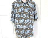 Vintage Brown with White & Blue Hibiscus Flowers Hawaiian Aloha Shirt by Vintage Silk Size L