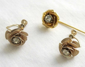 Vintage Clear Rhinestone Rose Stick Pin and Earrings Set