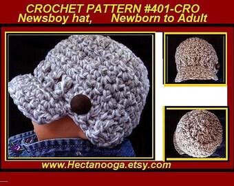 CROCHET PATTERN, Newsboy hat,  baby, toddler, children, kids, teens, women, men, hat crochet pattern, visor cap, clothing, # 401-CRO,