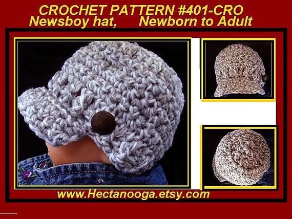 CROCHET PATTERN, Newsboy hat,  baby, toddler, children, kids, teens, women, men, hat crochet pattern, visor cap, clothing, # 401-CRO,