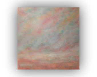 Pink Abstract Landscape- Oil Painting on Canvas- Large 36 x 36 Field Sky and Cloud Art- Original Palette Knife Painting