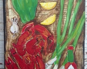 Louisiana  Crawfish Original Painting