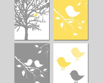 Baby Bird Birdie Nursery Art Nursery Decor Quad - Set of Four 8x10 Prints - CHOOSE YOUR COLORS - Shown in Soft Yellow, Gray, and More