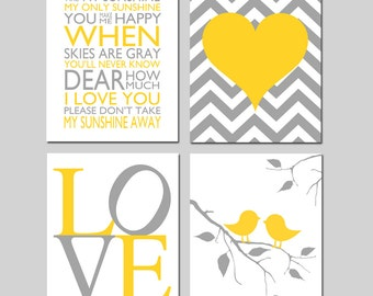 Nursery Art Decor Quad - You Are My Sunshine, Love, Baby Birds on a Branch, Chevron Heart - Set of Four 8x10 Prints - CHOOSE YOUR COLORS