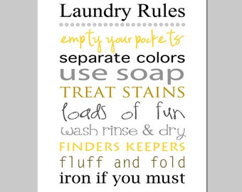 LAUNDRY RULES - 8x10 Print - Laundry Room Decor Wall Art - Choose Your Colors