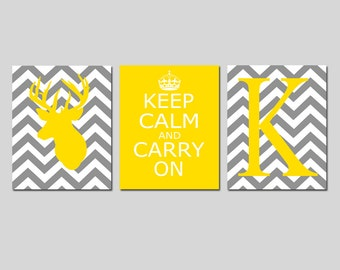 Chevron Deer, Keep Calm Carry On, Chevron Monogram Trio - Set of Three 11x14 Prints - CHOOSE YOUR COLORS - Shown in Yellow, Gray, and More