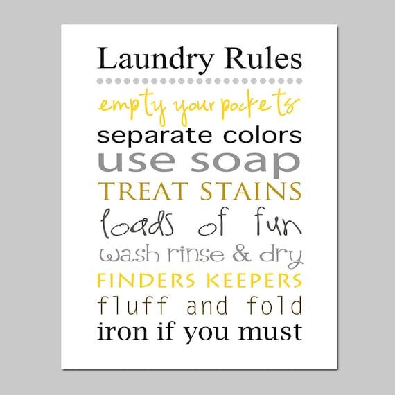 Laundry Rules 8x10 Print Laundry Room Decor Wall Art
