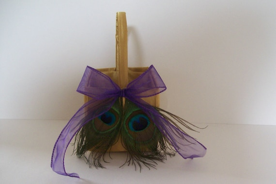 Flower Girl Basket with Peacock Feathers on Gold Satin and Purple Organza Trim