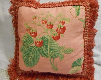 Luscious RED STRAWBERRY PILLOW, Plump Berries & Green Leaves on Tuscan Terra Cotta Richloom Linen Weave, Waverly Red Gold Brush Trim 1/3