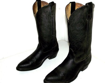 Black on Black  Leather cowboy boots size 9 D or cowgirl size 10.5