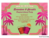 Tropical Island Paradise Party Invitation. Announcement. Printable Customized. Vintage Retro Mixed Drinks Palm Trees Margaritaville Invite