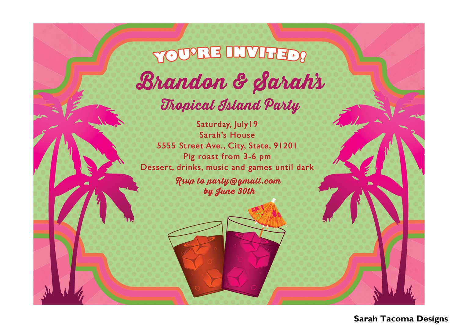 Tropical Island Paradise Party Invitation. Announcement.