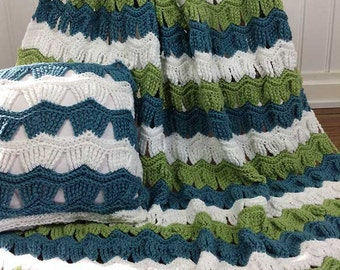 Victorian Ripple Afghan & Pillow Set Crochet Pattern PDF