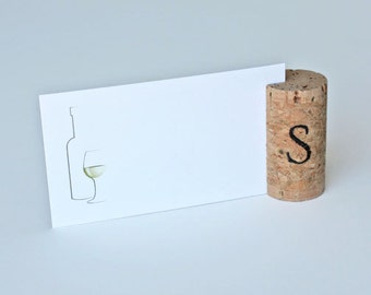 Personalized Single Vertical Wine Cork Place Card Holder - Single Initial
