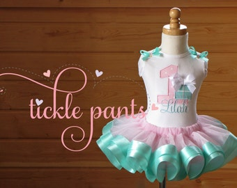 Gift Box Birthday Tutu Outfit- aqua blue and pink, Includes embroidered top and ruffled tutu-  Can be customized