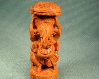 GANESHA STATUE, six inch wood carved from BALI