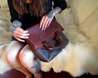 Waxed Cotton and Leather Handbag- Oxblood Red