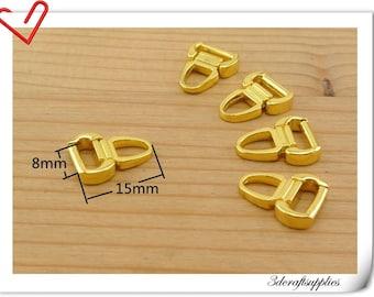 15mm x 8 mm #3  Gold metal zipper pull charm  25pcs AC115