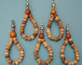 Lot of 15 unusual vintage 1970s unused coconut wood bead loop charms/ pendants dangles with metal loops for your beading prodjects