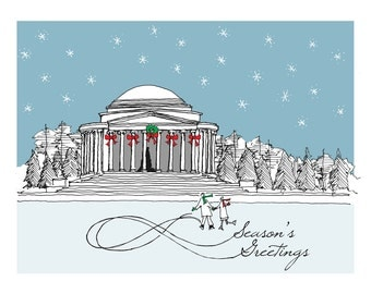 Washington DC - Jefferson Memorial - Christmas Card