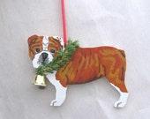 Hand-Painted ENGLISH BULLDOG Red/White Wood Christmas Ornament Artist Original