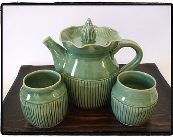 Just Green Teapot Set with Line Decoration by misunrie