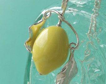 Lemon Fruit Pendant - Semi Porcelain Lemon, Pure Silver Leaves, Plant Jewelry