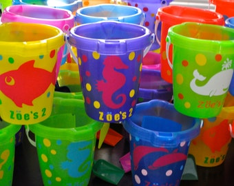 Personalized party favors and gift beach buckets