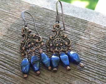 Copper & Cobalt Blue Czech Glass Chandelier Earrings