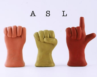 Name in American Sign Language - Your choice of 3 letters - Initials - Name Art - ASL Statues - Made to Order you pick Colors - Nursery Art