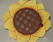 Sunflower, Cookie Jar Lid,Tole painted, Wood Lid,Kitchen,Handmade,Kitchen Decor,Sunflower decor