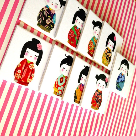 Oriental ceramic coaster kokeshi japanese doll set of 9 for Japanese inspired gifts
