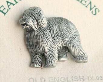 Old English Sheepdog Vintage Dog Figural Pewter Tie Tac Pin Brooch