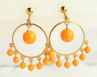 Orange Balls Hoop Earrings Vintage Middle Eastern Style Clip Oon