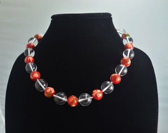 Knotted Crystal Quartz and Handpainted Pearl Sterling Silver Necklace