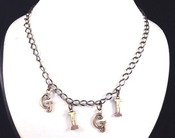 GIGI Necklace in Antique Silver Letters with Antique Bronze Chain