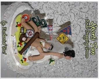 Bride Dragging Groom, Sports, Wedding Cake Topper, Personalized, Custom