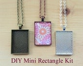 25pc..DIY Mini Rectangle Pendant Tray Necklace Kit..25x35mm...includes chains, glass Inserts,  trays..Mix and Match color trays.